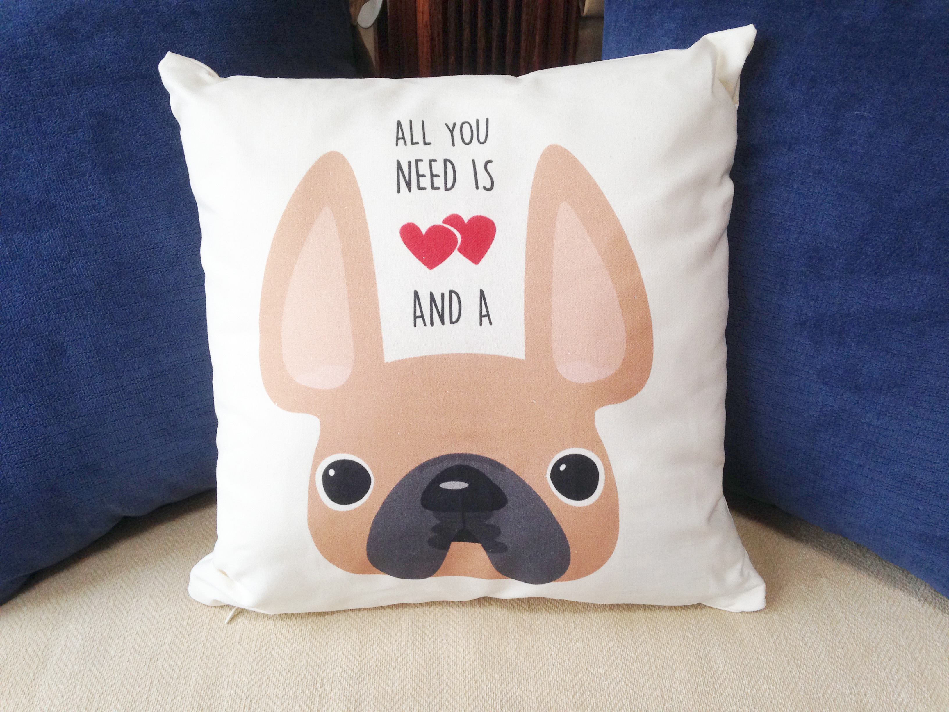 new goodies in the shop – french bulldog love - (cream) french bulldog pillow